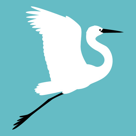 bird heron vector illustration flat style profile side