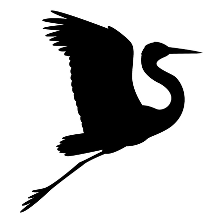 bird heron vector illustration  black silhouette  profile side