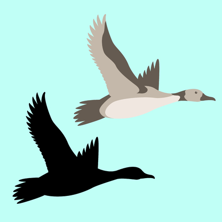 goose  vector illustration flat style  set black silhouette  イラスト・ベクター素材
