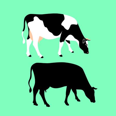 cow vector illustration flat style black silhouette set