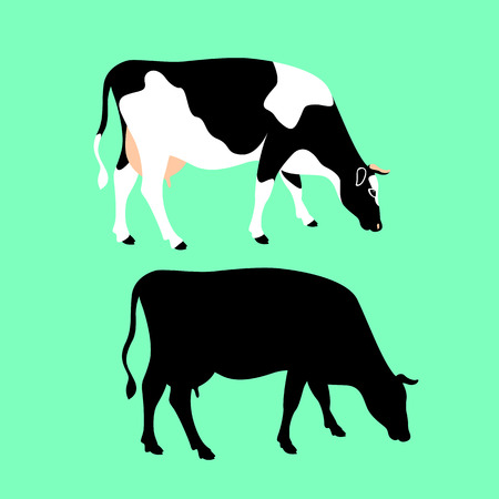 cow vector illustration flat style black silhouette set
