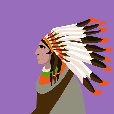 Indian man face head vector illustration profile side. Ilustração