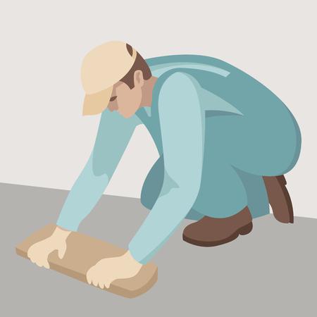 Werknemer zet stoep tegels vector illustratie profiel kant.