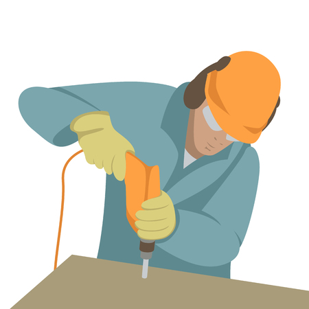 The worker drills the hole vector illustration front side. Foto de archivo - 100593028