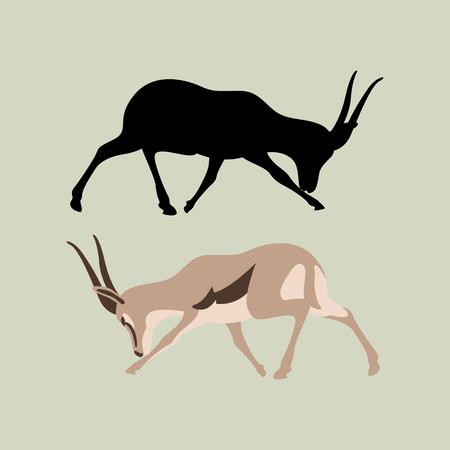 gazelle antelope  vector illustration flat style black silhouette set