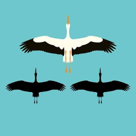 stork vector illustration flat style black silhouette set