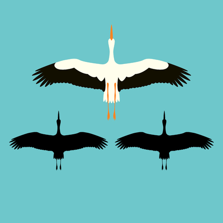 stork vector illustration flat style black silhouette set