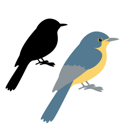 Blue flycatcher bird vector illustration flat style black silhouette