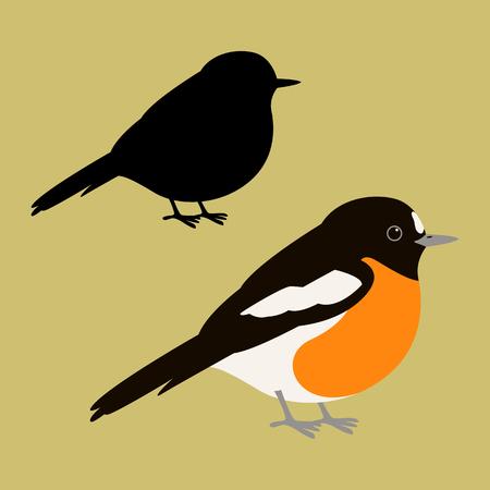 Scarlet Robin vector illustratie vlakke stijl zwart silhouet