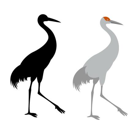 crane bird vector illustration flat style  black silhouette profile side