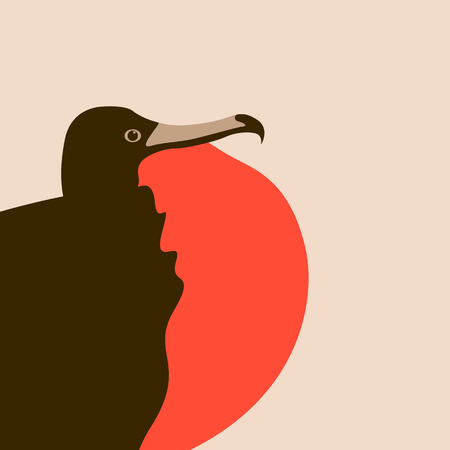 frigate bird vector illustration flat style  profile side
