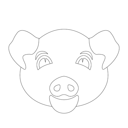 pig face vector illustration  coloring book  front side