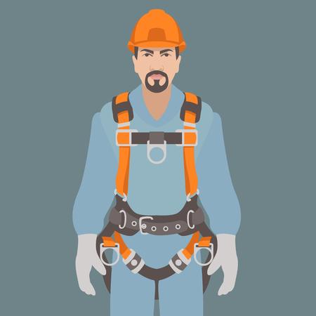 worker climbing safety belt vector illustration flat style