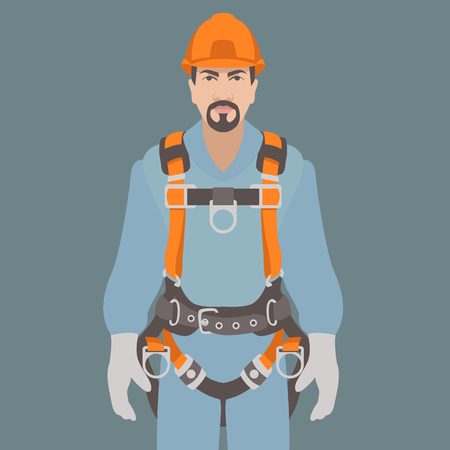 worker climbing safety belt vector illustration flat style