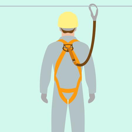 werknemer klimmen veiligheidsgordel vector illustratie vlakke stijl
