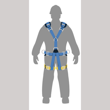 worker climbing safety belt vector illustration flat style Archivio Fotografico - 102218578