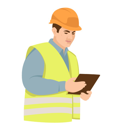 worker in a  helmet with a tablet vector illustration flat style Illustration