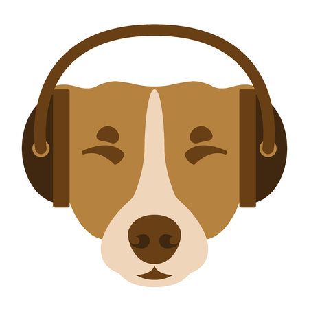 dog face  in headphones vector illustration flat style front side