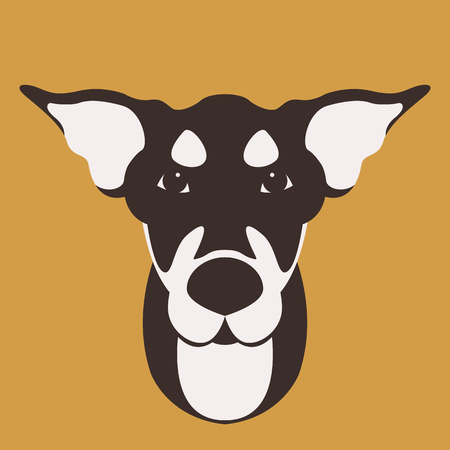 dog face head vector illustration flat style front side