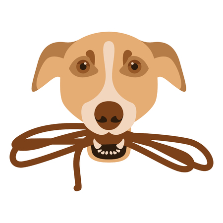 dog with a leash in his teeth face front side Illustration