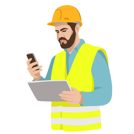 Worker in a helmet with a tablet in his hands flat style