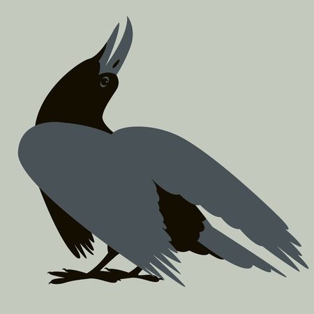 bird crow vector illustration flat style  profile side