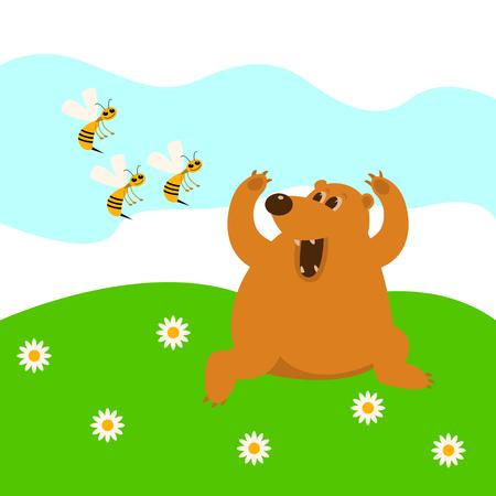 L'ours fuit les abeilles vector illustration cartoon Vecteurs