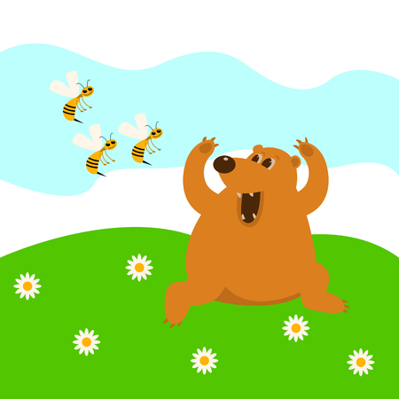 The bear flees from bees vector illustration  cartoon Illustration