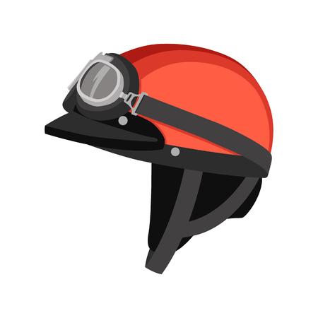 casque de moto vector illustration côté profil plat style