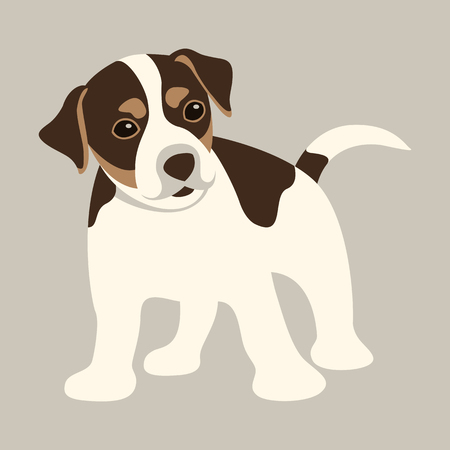 terrier puppy  vector illustration   flat style front side Vettoriali