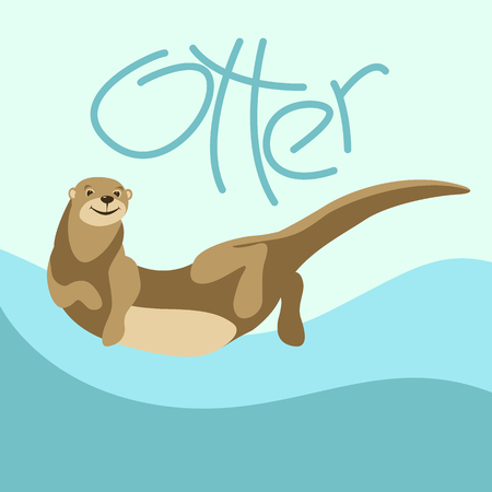 cartoon otter vector illustration flat style front side