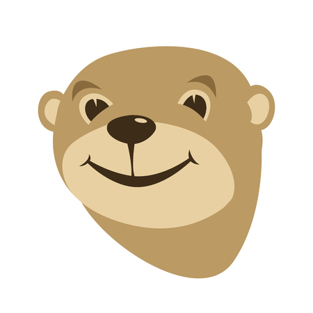 cartoon otter face vector illustration flat style front side