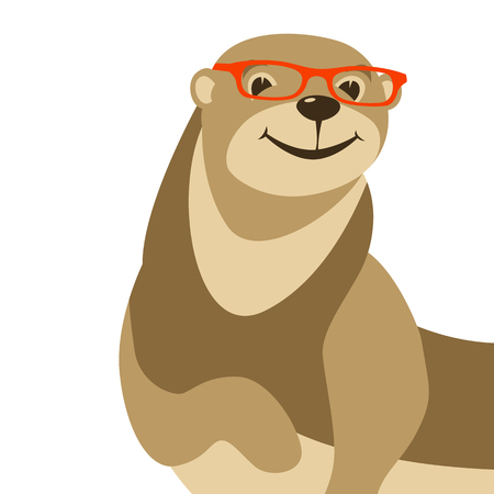 cartoon otter in glasses vector illustration flat style front side Illustration