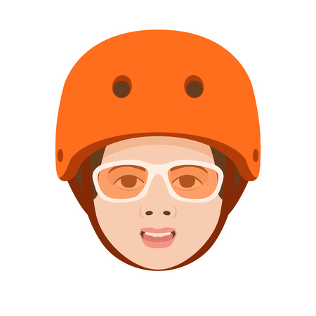 bicyclist child  in helmet vector illustration flat style  front side