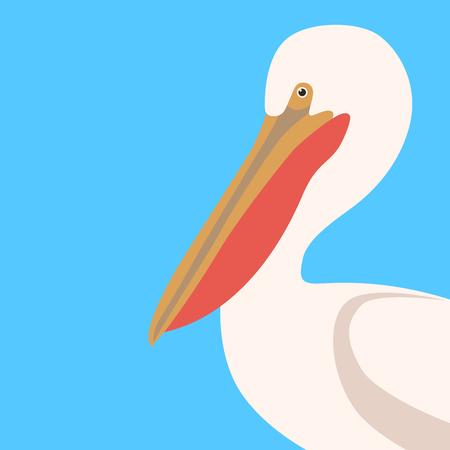 pelican head profile side vector illustration flat style