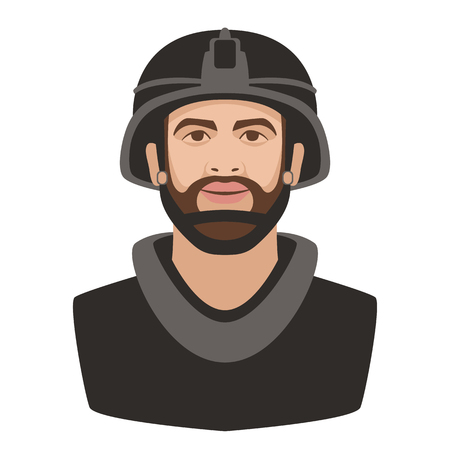 soldier in a helmet face vector illustration flat style