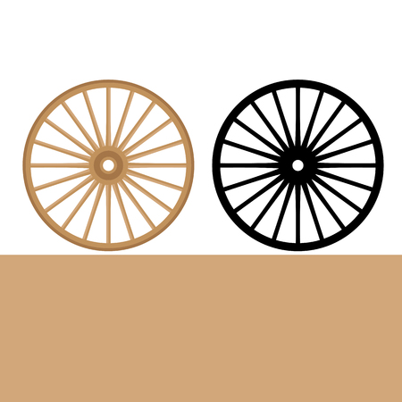 wheel carriage  vector illustration flat style front side set