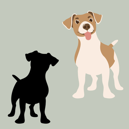 terrier russel dog vector illustration flat style black silhouette set
