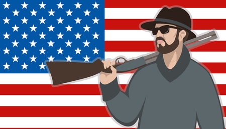 man with gun  on the background of the American flag  flat Illustration