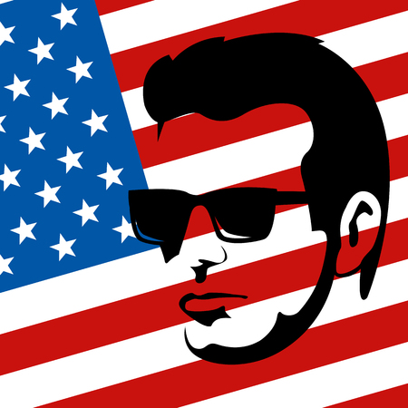 hipster face  on the background of the American flag flat