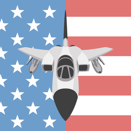 plane fighter  on the background usa flag flat 일러스트
