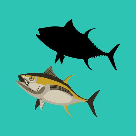 gelbe Thunfisch-Vektorillustration flache schwarze Silhouette Vektorgrafik
