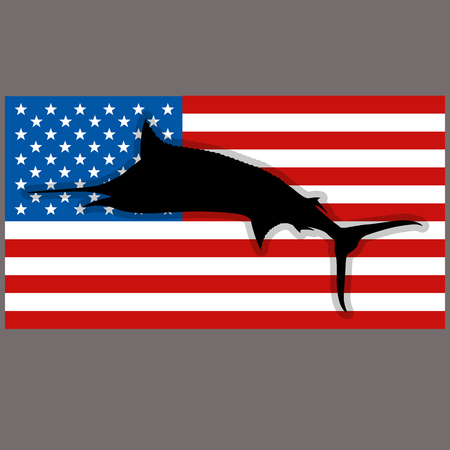 silhouette marlin fish on background usa flag profile