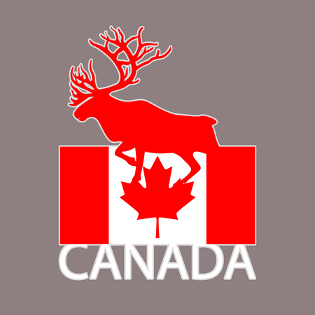 logo moose on canada flag background  flat style