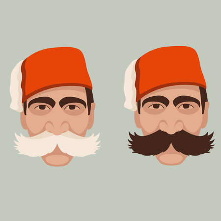 Red Turkish Hat Fez And Black Mustache Vector Isolated, Turkish.. Royalty  Free Cliparts, Vectors, And Stock Illustration. Image 40210919.