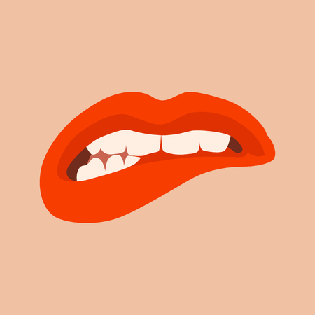red evil lips vector illustration flat style front side