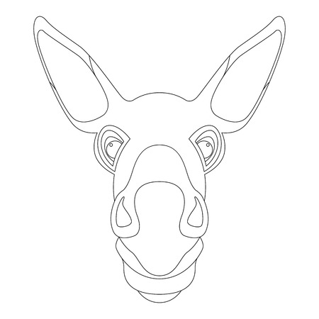 donkey face head vector illustration  coloring book front side Illustration