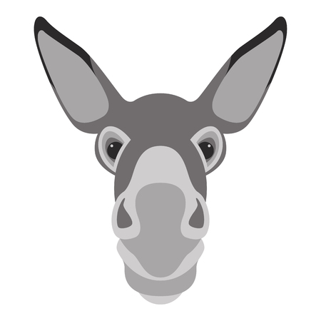 donkey face head vector illustration flat style front side