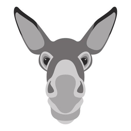 Esel Gesicht Kopf Vektor Illustration Flat Style Vorderseite illustration