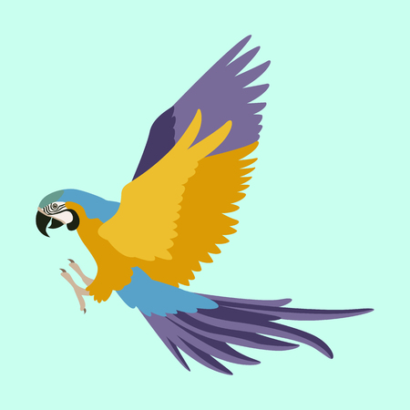 the parrot flies vector illustration flat style  profile side